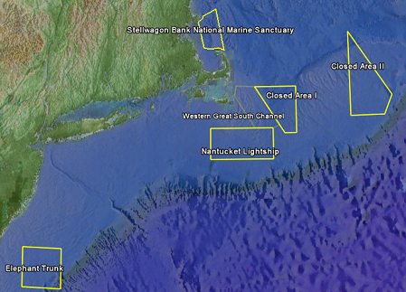 The six sentinal sites of NEBO, ranging from the Mid-Atlantic Bight to Georges Bank, to the Gulf of Maine.